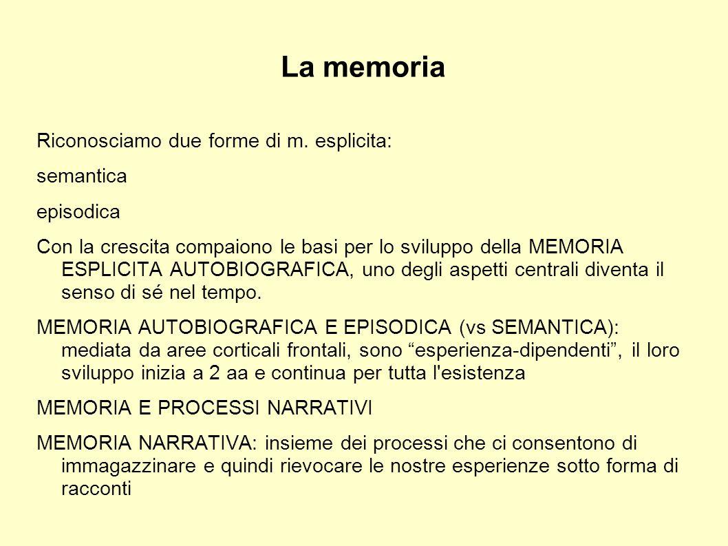 La memoria Riconosciamo due forme di m. esplicita: semantica episodica Con la crescita compaiono le basi per lo sviluppo della MEMORIA ESPLICITA AUTOB