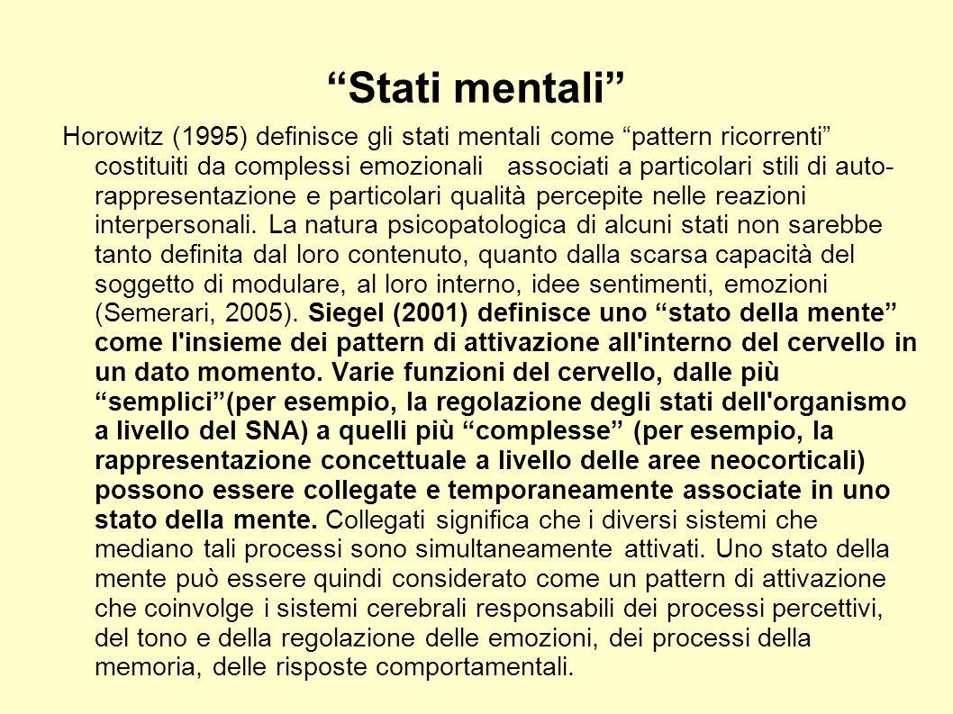 Stati mentali Horowitz (1995) definisce gli stati mentali come pattern ricorrenti costituiti da complessi emozionali associati a particolari stili di
