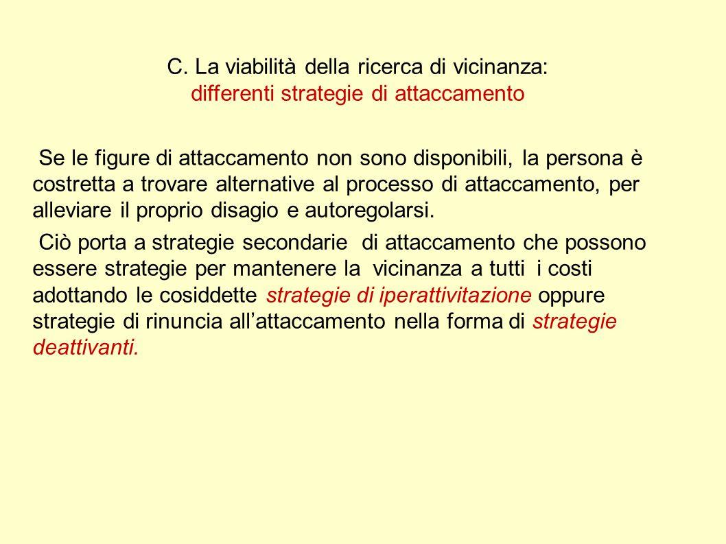 C. La viabilità della ricerca di vicinanza: differenti strategie di attaccamento Se le figure di attaccamento non sono disponibili, la persona è costr