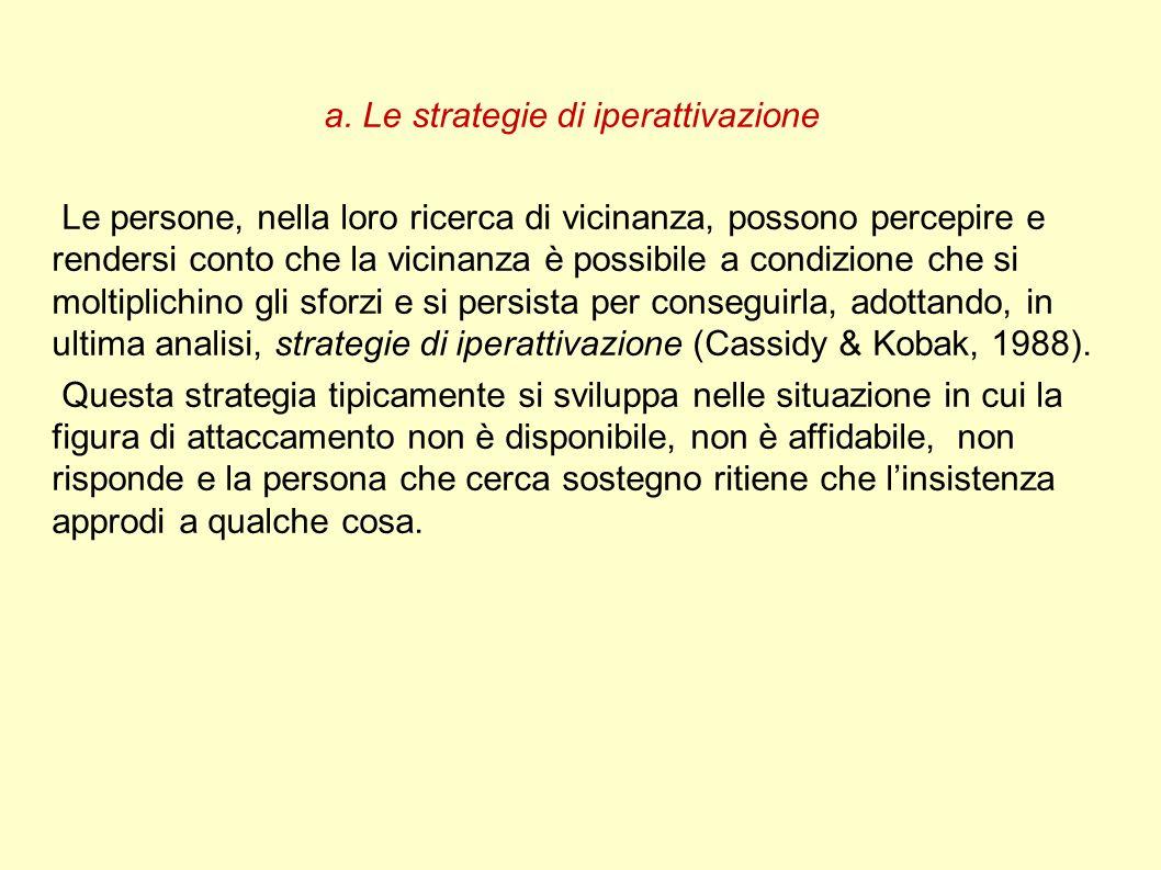 a. Le strategie di iperattivazione Le persone, nella loro ricerca di vicinanza, possono percepire e rendersi conto che la vicinanza è possibile a cond