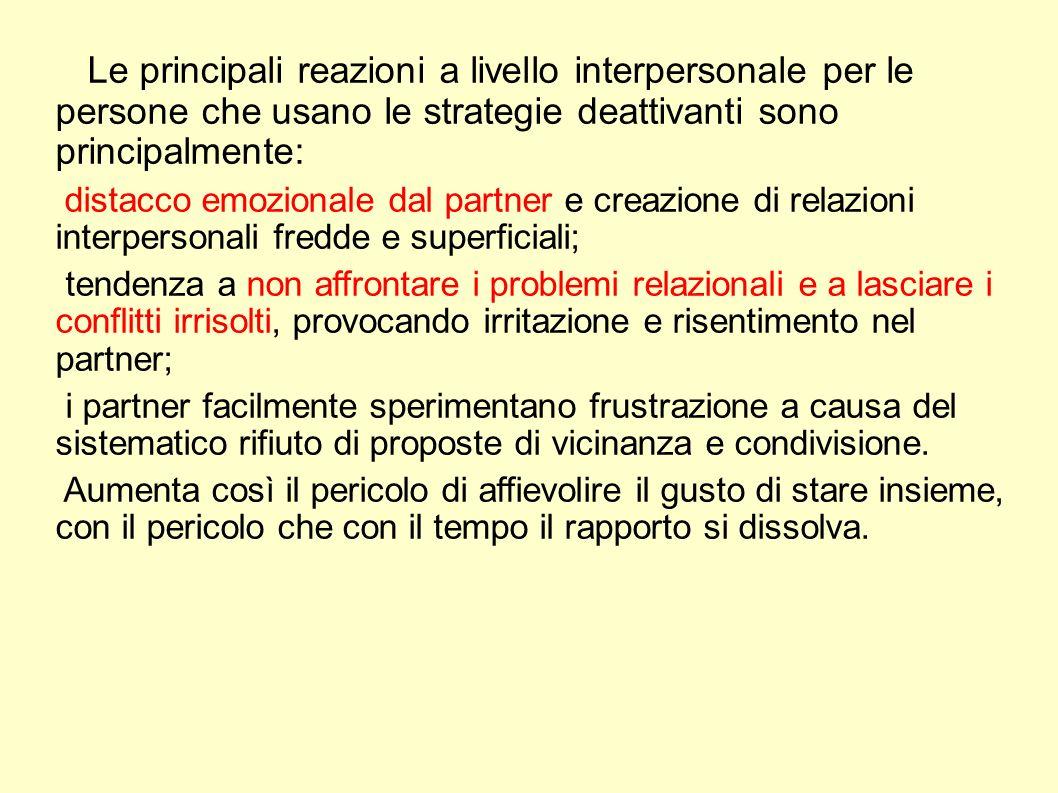 Le principali reazioni a livello interpersonale per le persone che usano le strategie deattivanti sono principalmente: distacco emozionale dal partner