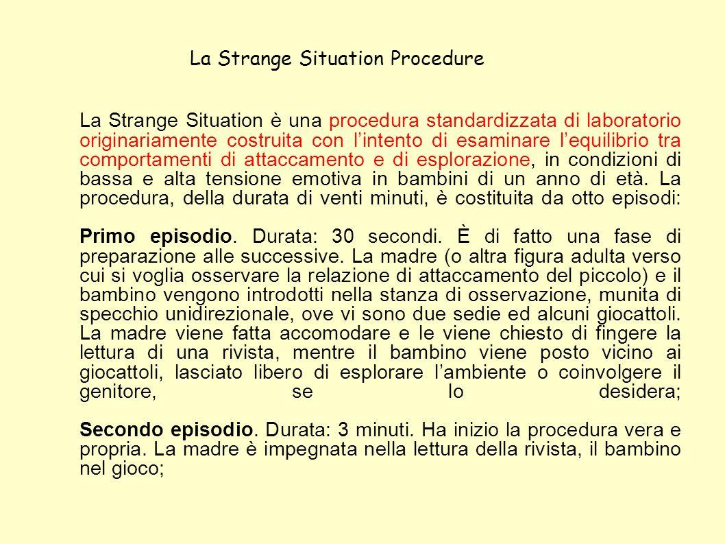 La Strange Situation è una procedura standardizzata di laboratorio originariamente costruita con lintento di esaminare lequilibrio tra comportamenti d