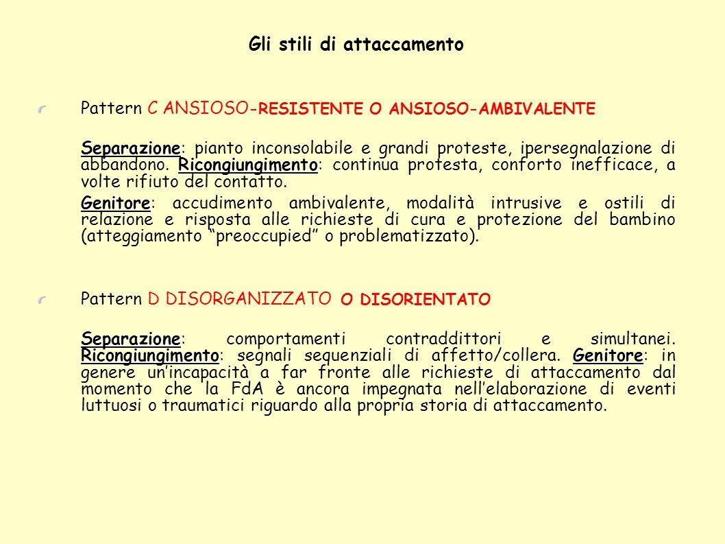 Gli stili di attaccamento Pattern C ANSIOSO -RESISTENTE O ANSIOSO-AMBIVALENTE Separazione Ricongiungimento Separazione: pianto inconsolabile e grandi