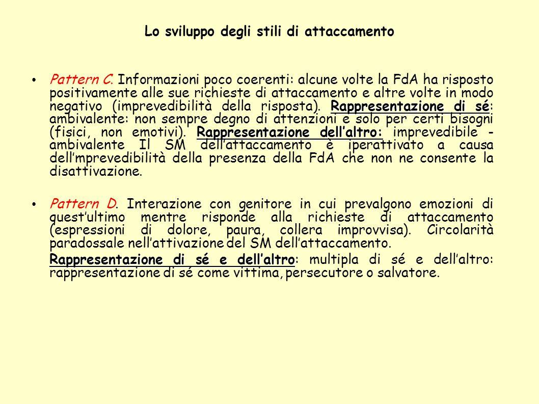 Lo sviluppo degli stili di attaccamento Rappresentazione di sé Rappresentazione dellaltro: Pattern C. Informazioni poco coerenti: alcune volte la FdA