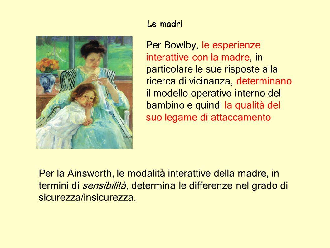Le madri Per Bowlby, le esperienze interattive con la madre, in particolare le sue risposte alla ricerca di vicinanza, determinano il modello operativ