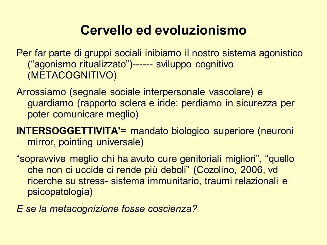 Cervello ed evoluzionismo Per far parte di gruppi sociali inibiamo il nostro sistema agonistico (agonismo ritualizzato)------ sviluppo cognitivo (META
