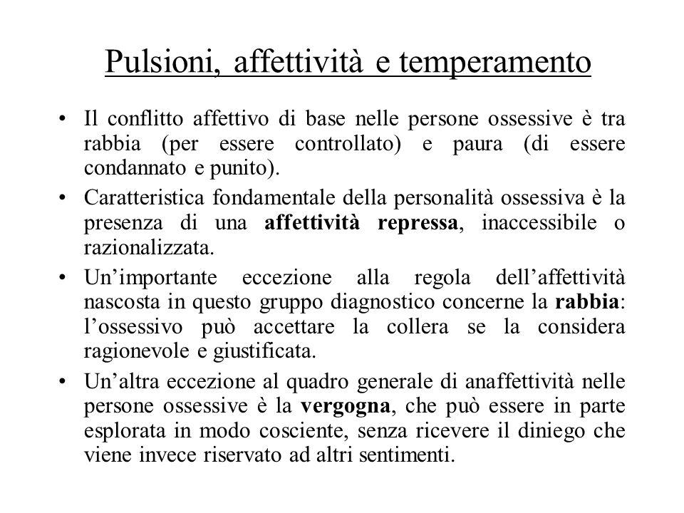 Pulsioni, affettività e temperamento Il conflitto affettivo di base nelle persone ossessive è tra rabbia (per essere controllato) e paura (di essere c