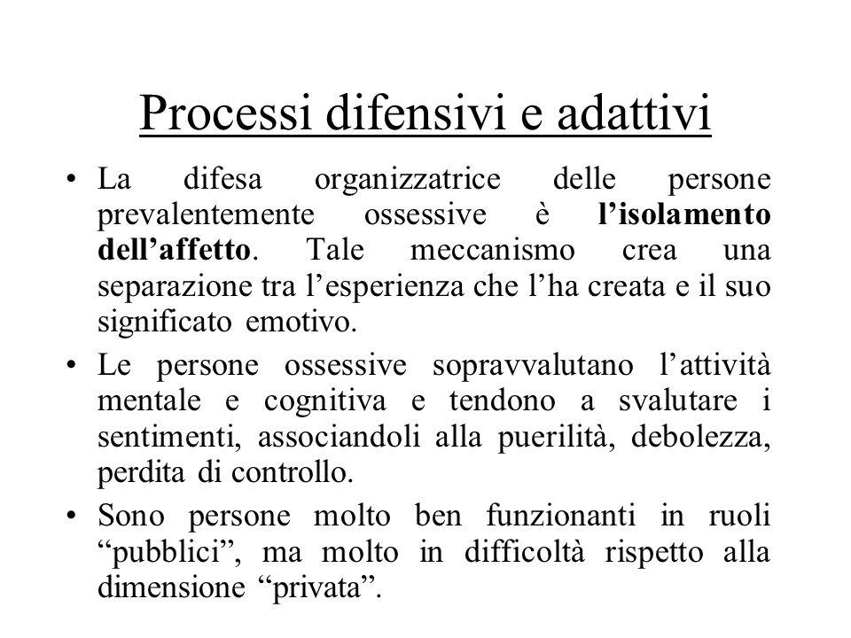 Processi difensivi e adattivi La difesa organizzatrice delle persone prevalentemente ossessive è lisolamento dellaffetto. Tale meccanismo crea una sep