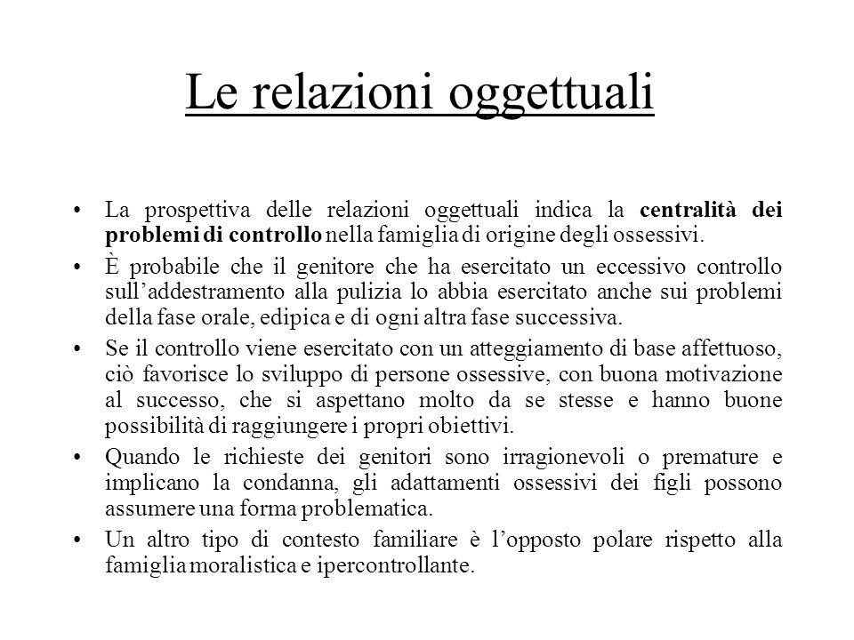 Le relazioni oggettuali La prospettiva delle relazioni oggettuali indica la centralità dei problemi di controllo nella famiglia di origine degli osses