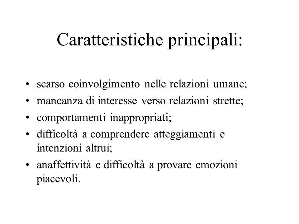 Caratteristiche principali: scarso coinvolgimento nelle relazioni umane; mancanza di interesse verso relazioni strette; comportamenti inappropriati; d