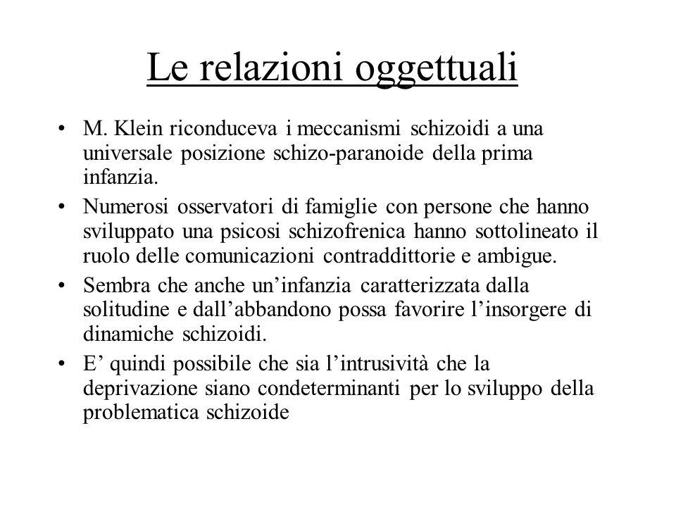 Le relazioni oggettuali M. Klein riconduceva i meccanismi schizoidi a una universale posizione schizo-paranoide della prima infanzia. Numerosi osserva