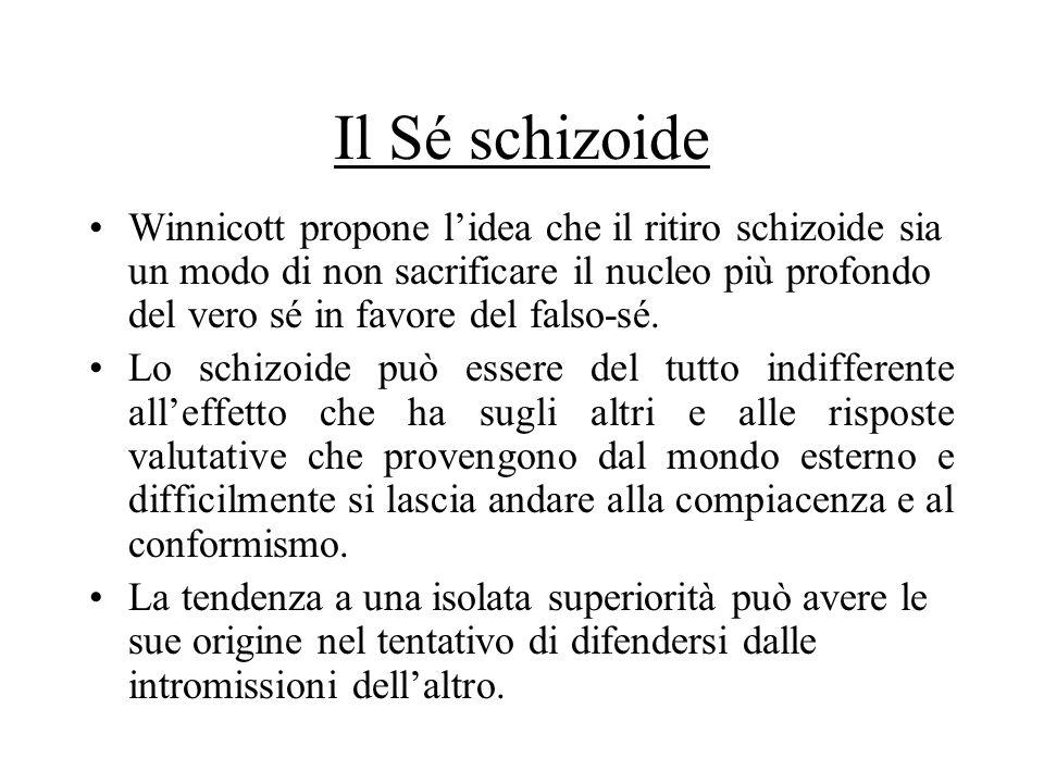 Il Sé schizoide Winnicott propone lidea che il ritiro schizoide sia un modo di non sacrificare il nucleo più profondo del vero sé in favore del falso-