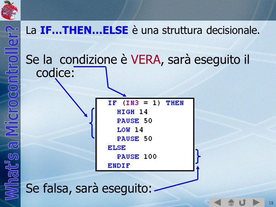 18 La IF…THEN…ELSE è una struttura decisionale. Se la condizione è VERA, sarà eseguito il codice: Se falsa, sarà eseguito: