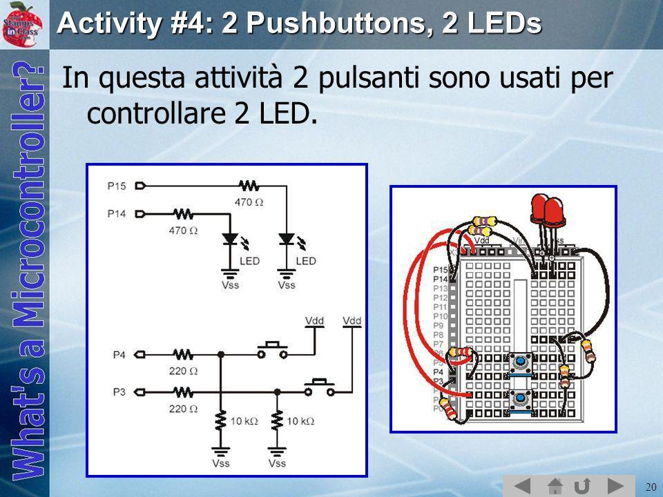 20 Activity #4: 2 Pushbuttons, 2 LEDs In questa attività 2 pulsanti sono usati per controllare 2 LED.