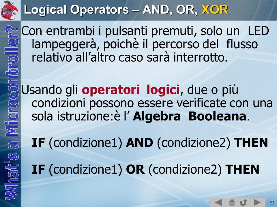 22 Logical Operators – AND, OR, XOR Con entrambi i pulsanti premuti, solo un LED lampeggerà, poichè il percorso del flusso relativo allaltro caso sarà interrotto.
