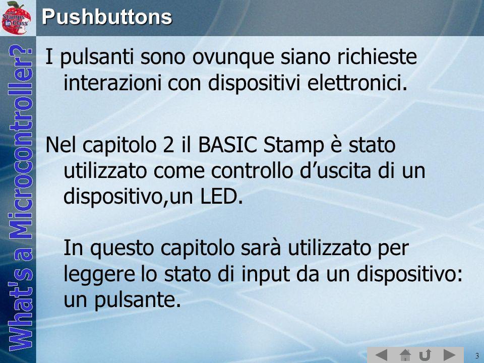 3Pushbuttons I pulsanti sono ovunque siano richieste interazioni con dispositivi elettronici. Nel capitolo 2 il BASIC Stamp è stato utilizzato come co
