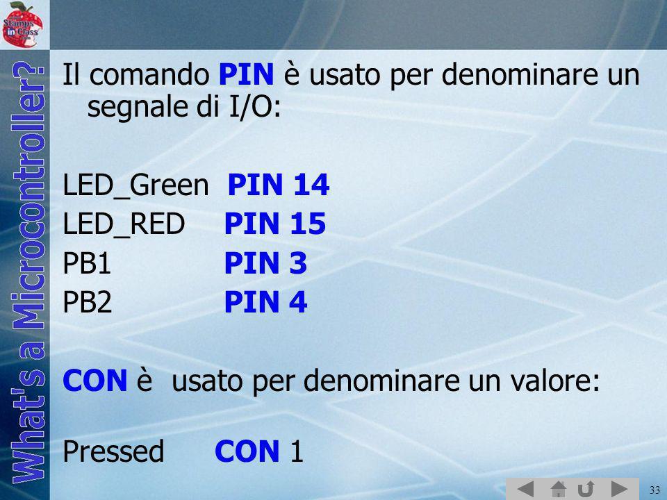 33 Il comando PIN è usato per denominare un segnale di I/O: LED_Green PIN 14 LED_RED PIN 15 PB1 PIN 3 PB2 PIN 4 CON è usato per denominare un valore: