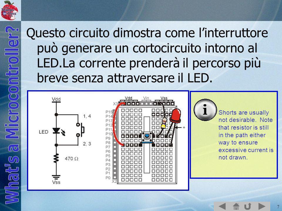 7 Questo circuito dimostra come linterruttore può generare un cortocircuito intorno al LED.La corrente prenderà il percorso più breve senza attraversa