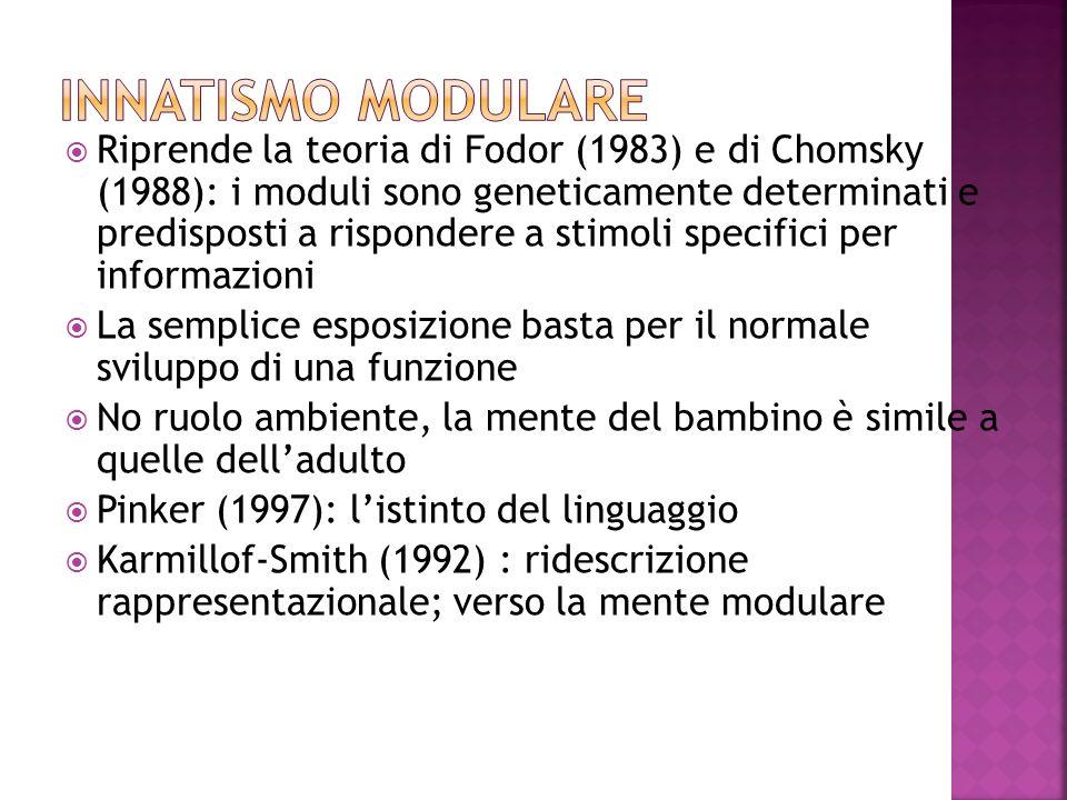 Riprende la teoria di Fodor (1983) e di Chomsky (1988): i moduli sono geneticamente determinati e predisposti a rispondere a stimoli specifici per inf