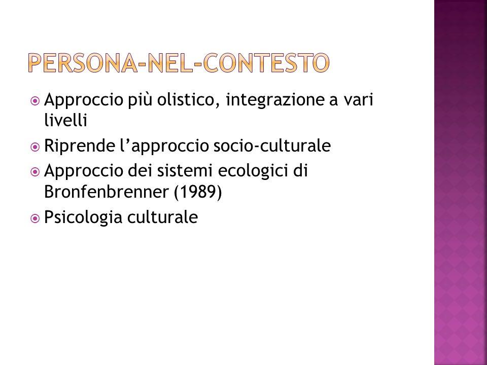 Approccio più olistico, integrazione a vari livelli Riprende lapproccio socio-culturale Approccio dei sistemi ecologici di Bronfenbrenner (1989) Psico