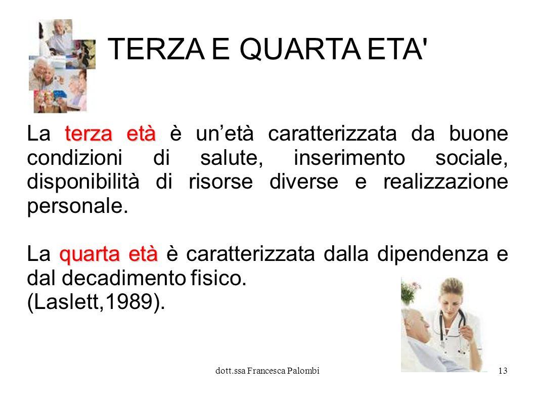 dott.ssa Francesca Palombi14 Età incerte, carenti di status sociale, si contrappongono ad età che in passato erano rigidamente definite.