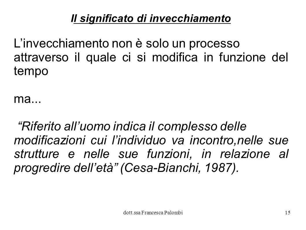 dott.ssa Francesca Palombi16 Un doppio significato..