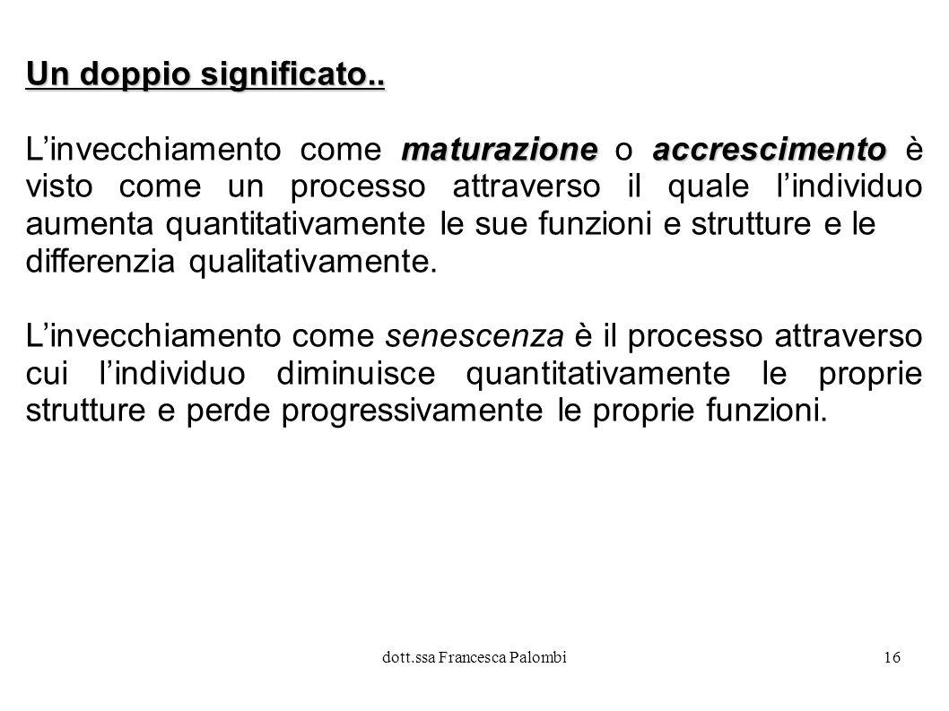 dott.ssa Francesca Palombi17 Nel processo di senescenza tendono a decadere le funzioni scarsamente esercitate, mentre permangono e migliorano quelle maggiormente utilizzate.