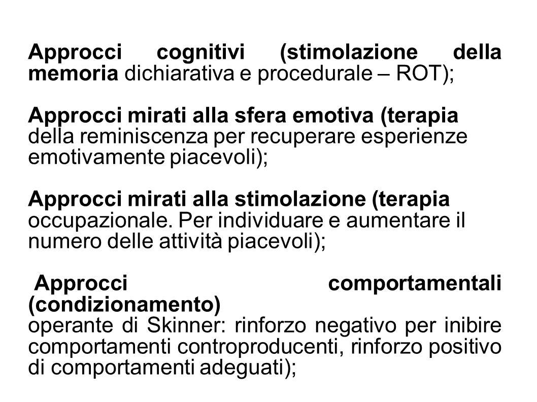 Interventi orientati allambiente (progettazione Interventi psicosociali sulla famiglia (per ridurre il carico psico-fisico della malattia e ritardare listituzionalizzazione.