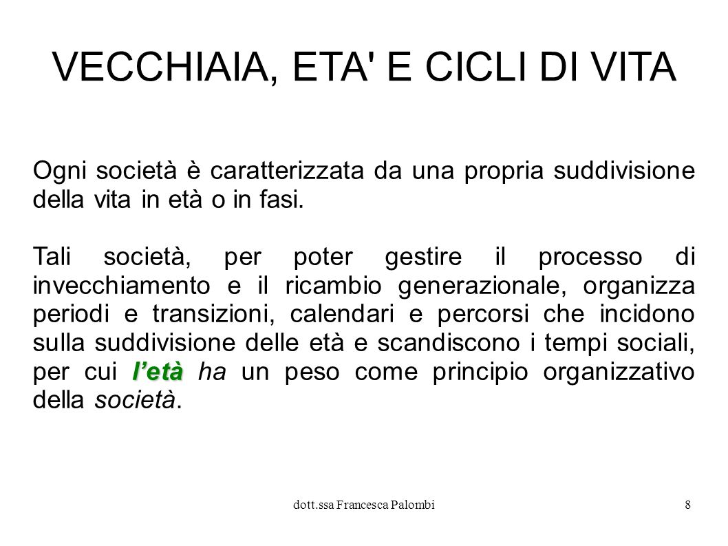 dott.ssa Francesca Palombi9 l ETA Che cos è l ETA ?.