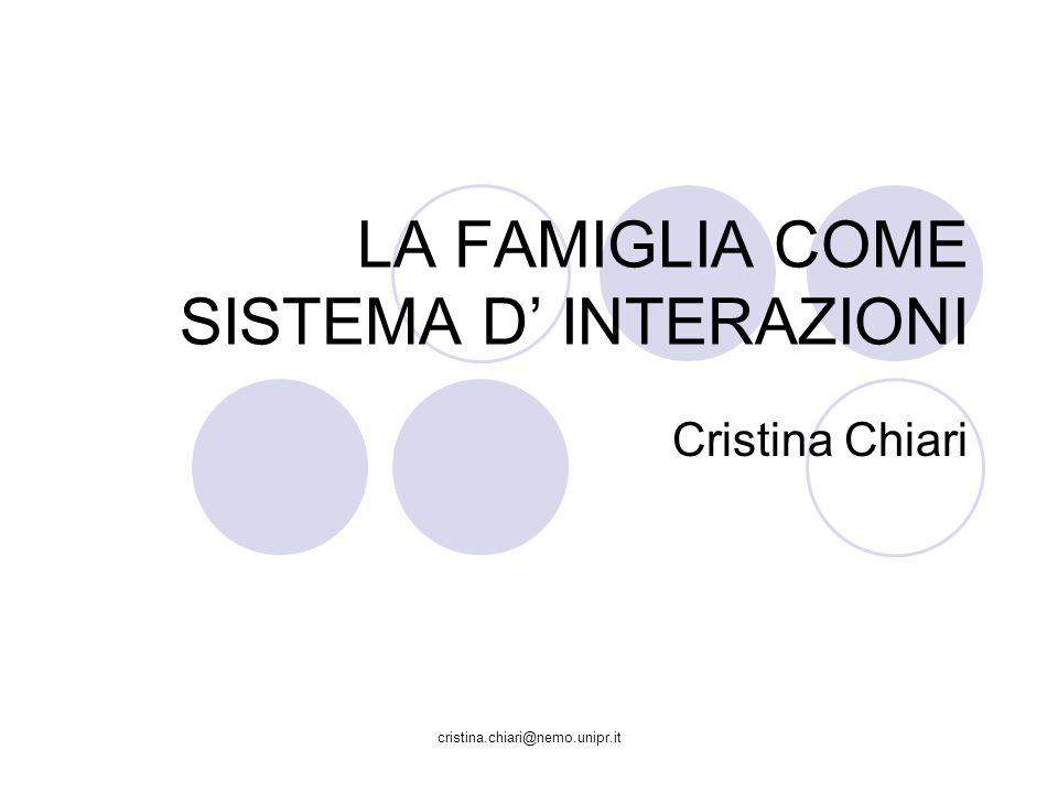 cristina.chiari@nemo.unipr.it OGGETTO DINDAGINE Dagli individui alla famiglia come unità dinamica Attenzione rivolta alle relazioni reciproche che legano gli elementi del sistema piuttosto che alle loro individualità