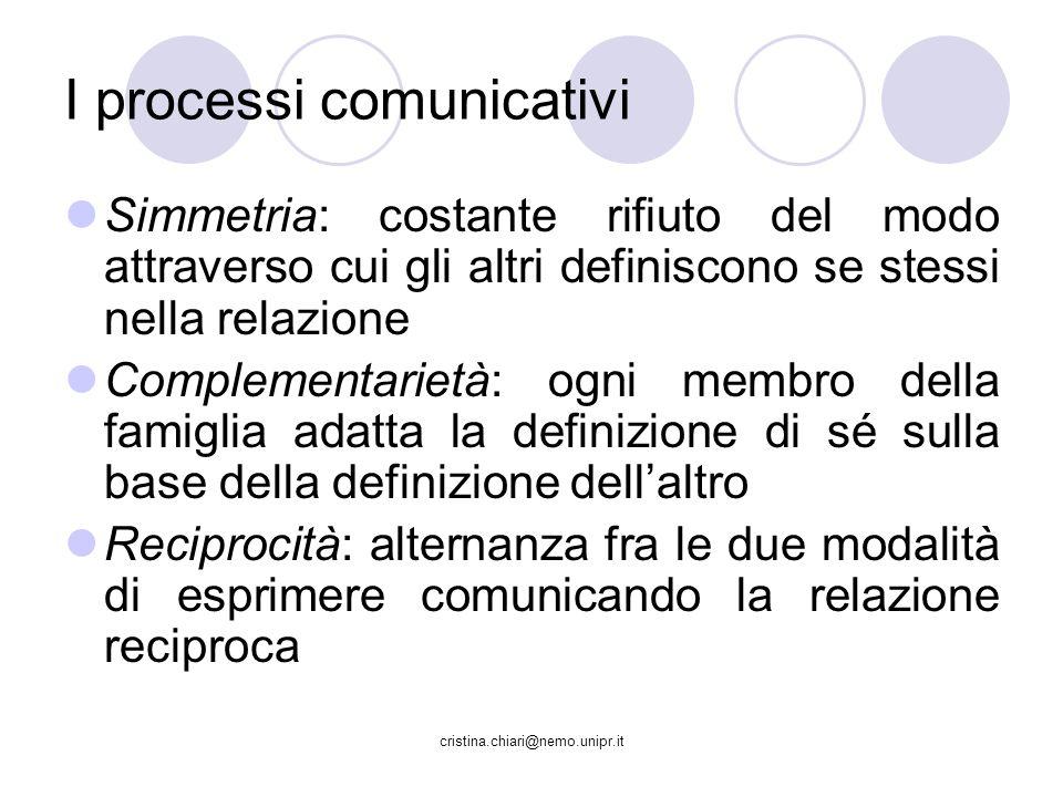 cristina.chiari@nemo.unipr.it Simmetria: costante rifiuto del modo attraverso cui gli altri definiscono se stessi nella relazione Complementarietà: og