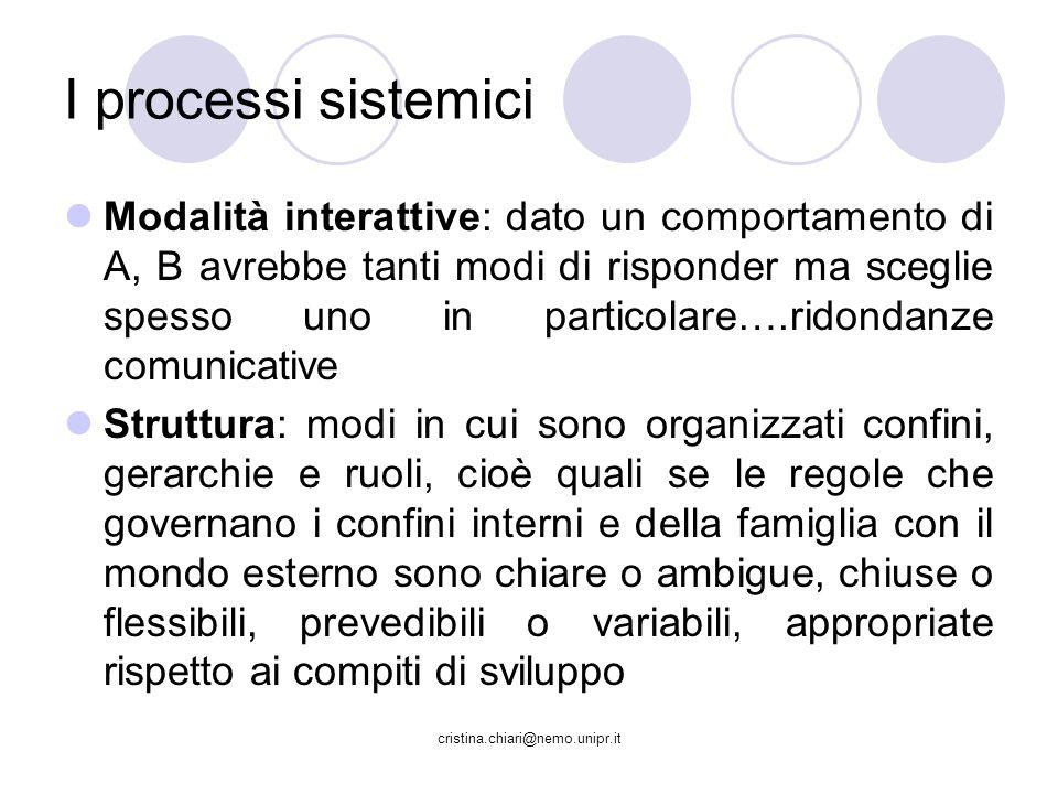 cristina.chiari@nemo.unipr.it I processi sistemici Modalità interattive: dato un comportamento di A, B avrebbe tanti modi di risponder ma sceglie spes