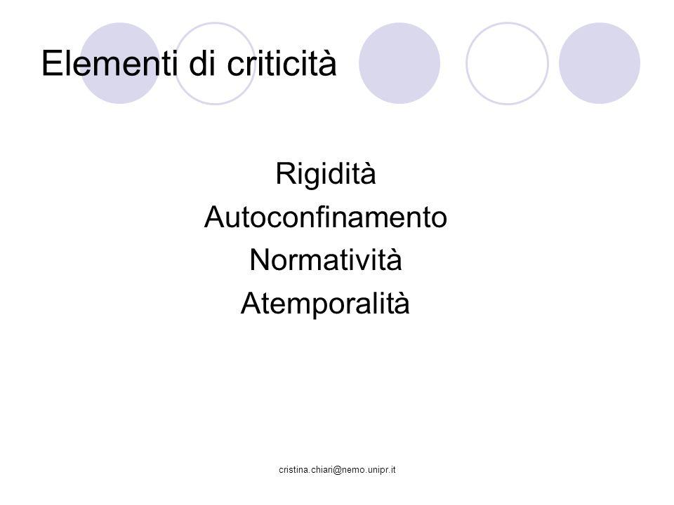 cristina.chiari@nemo.unipr.it Elementi di criticità Rigidità Autoconfinamento Normatività Atemporalità