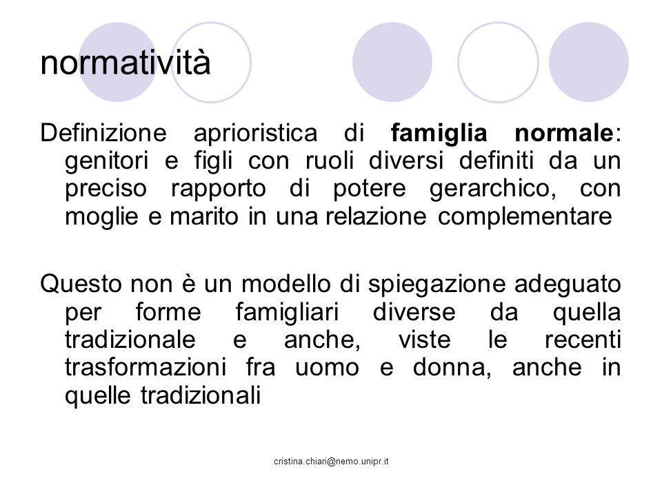 cristina.chiari@nemo.unipr.it normatività Definizione aprioristica di famiglia normale: genitori e figli con ruoli diversi definiti da un preciso rapp