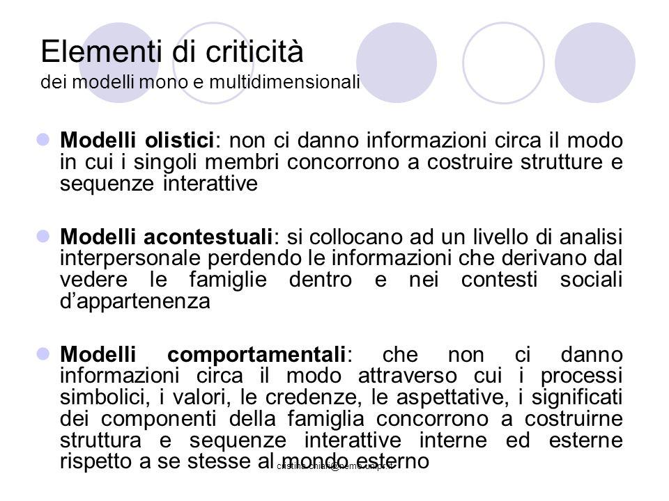 cristina.chiari@nemo.unipr.it Elementi di criticità dei modelli mono e multidimensionali Modelli olistici: non ci danno informazioni circa il modo in