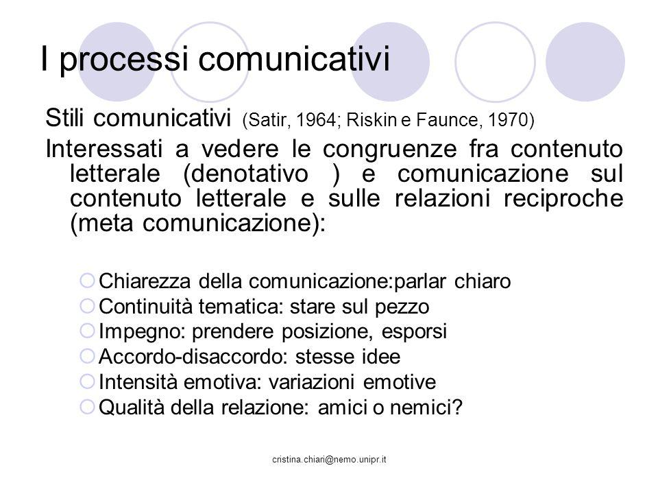 cristina.chiari@nemo.unipr.it Pragmatica (Watzlawich, 1967): Interessata al criterio e alle modalità attraverso cui i membri definiscono/negoziano relazioni reciproche: simmetria, complementarietà, reciprocità I processi comunicativi