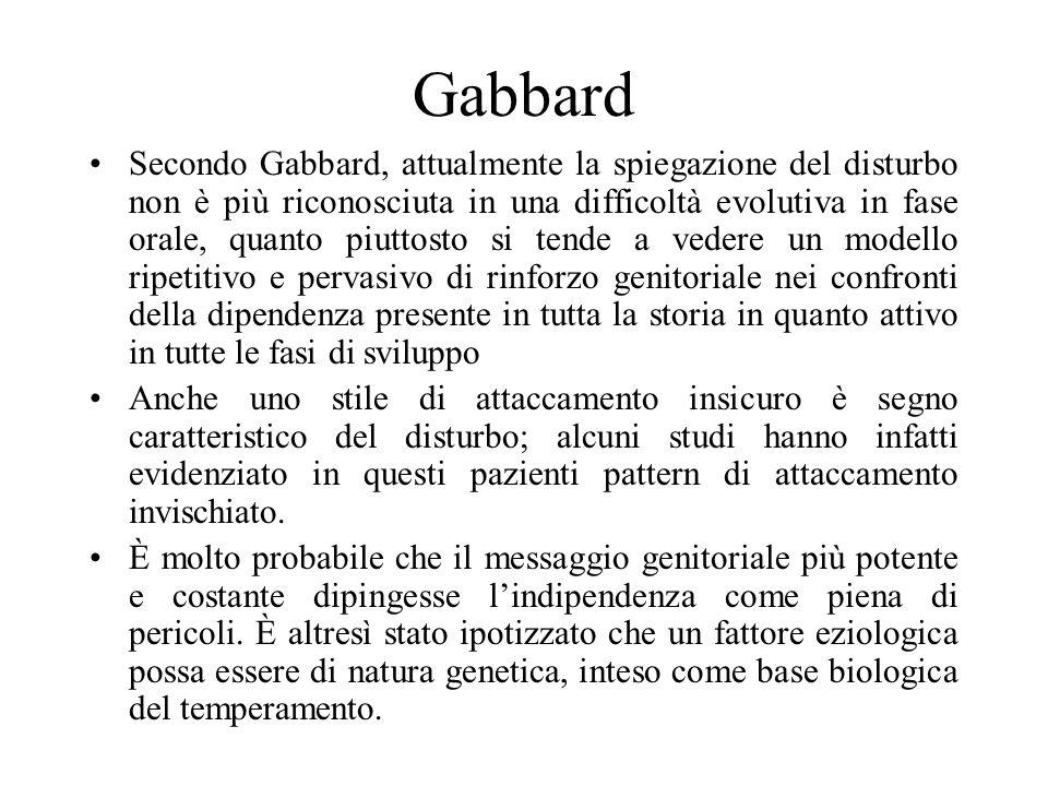 Gabbard Secondo Gabbard, attualmente la spiegazione del disturbo non è più riconosciuta in una difficoltà evolutiva in fase orale, quanto piuttosto si