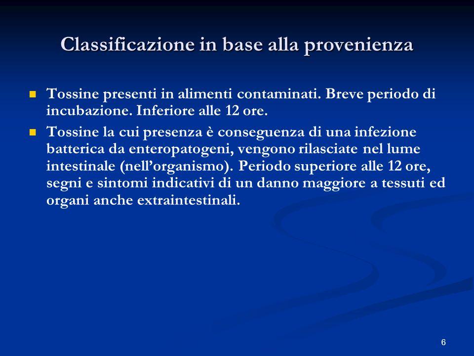 6 Classificazione in base alla provenienza Tossine presenti in alimenti contaminati.
