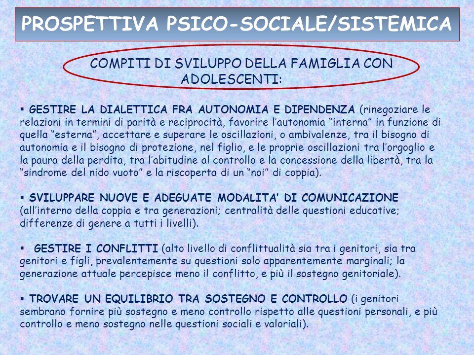PROSPETTIVA PSICO-SOCIALE/SISTEMICA COMPITI DI SVILUPPO DELLA FAMIGLIA CON ADOLESCENTI: GESTIRE LA DIALETTICA FRA AUTONOMIA E DIPENDENZA (rinegoziare