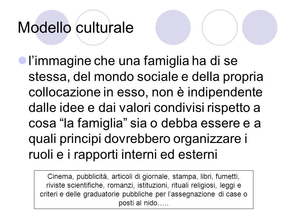 Modello culturale limmagine che una famiglia ha di se stessa, del mondo sociale e della propria collocazione in esso, non è indipendente dalle idee e