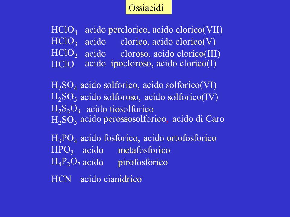 Ossiacidi HClO 4 HClO 3 HClO 2 HClO H 2 SO 4 H 2 SO 3 H 2 S 2 O 3 H 2 SO 5 H 3 PO 4 HPO 3 H 4 P 2 O 7 acido perclorico, acido clorico(VII) acido clorico, acido clorico(V) acido cloroso, acido clorico(III) acido ipocloroso, acido clorico(I) acido solforico, acido solforico(VI) acido solforoso, acido solforico(IV) acido tiosolforico acido perossosolforico, acido di Caro acido fosforico, acido ortofosforico acido metafosforico acido pirofosforico HCNacido cianidrico