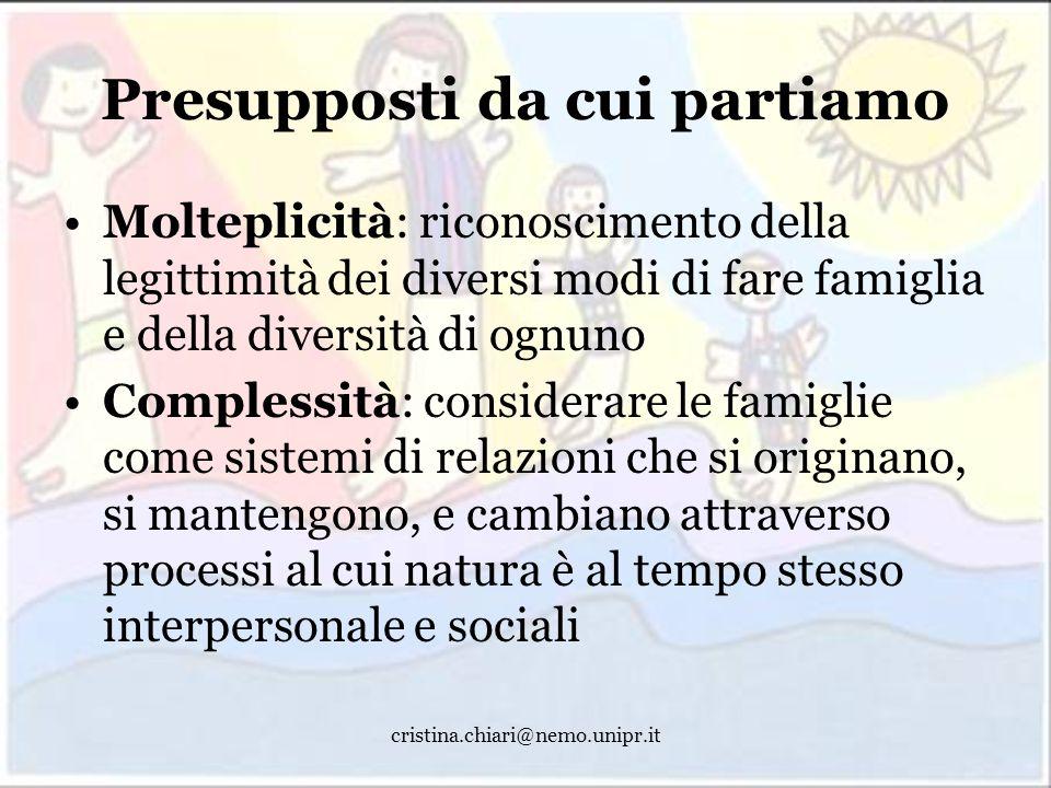cristina.chiari@nemo.unipr.it Presupposti da cui partiamo Molteplicità: riconoscimento della legittimità dei diversi modi di fare famiglia e della div