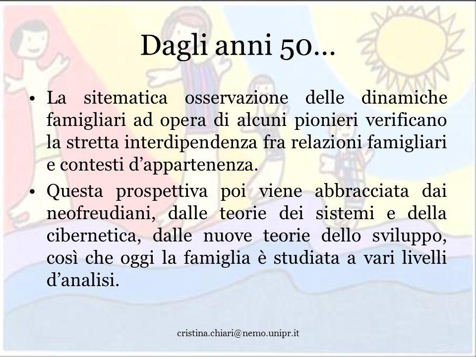 cristina.chiari@nemo.unipr.it Dagli anni 50… La sitematica osservazione delle dinamiche famigliari ad opera di alcuni pionieri verificano la stretta i
