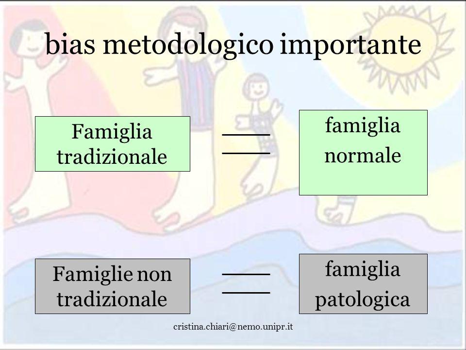 cristina.chiari@nemo.unipr.it bias metodologico importante Famiglia tradizionale famiglia normale Famiglie non tradizionale famiglia patologica