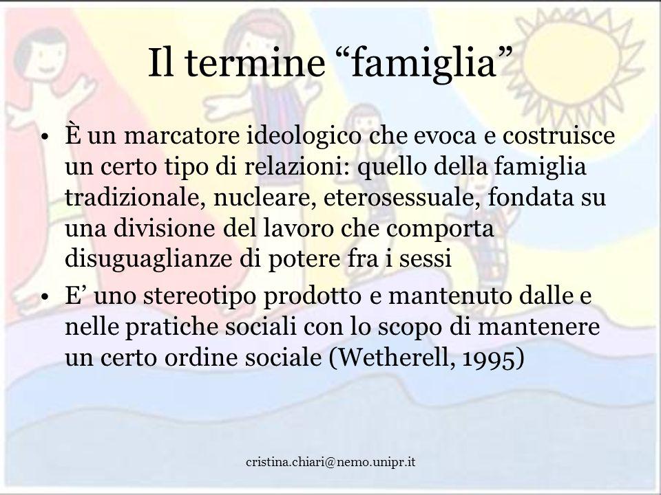cristina.chiari@nemo.unipr.it Il termine famiglia È un marcatore ideologico che evoca e costruisce un certo tipo di relazioni: quello della famiglia t