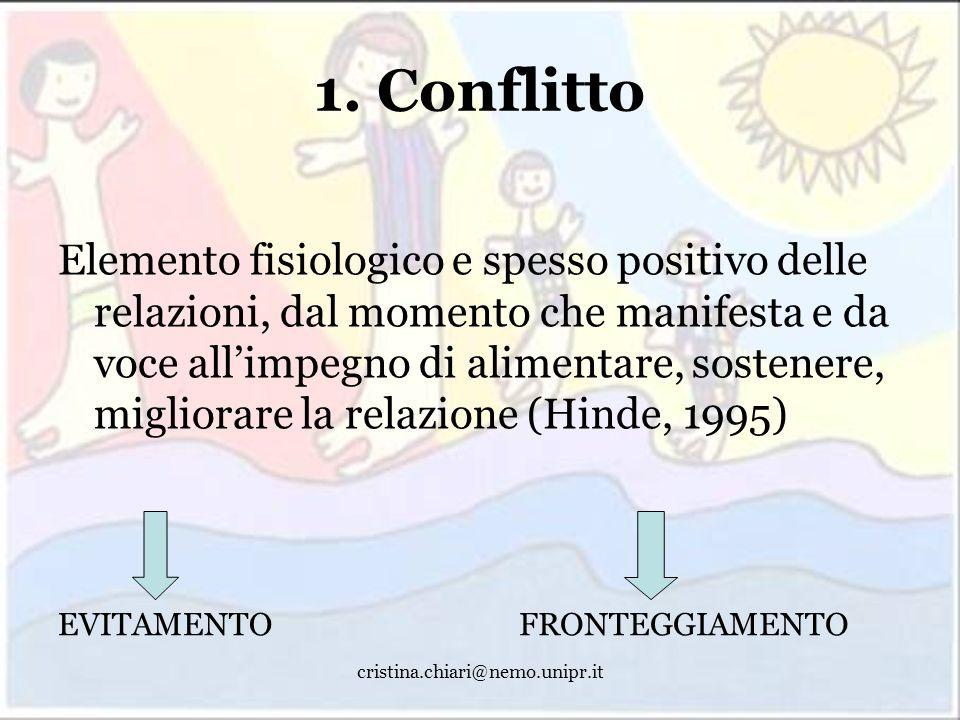 cristina.chiari@nemo.unipr.it 1. Conflitto Elemento fisiologico e spesso positivo delle relazioni, dal momento che manifesta e da voce allimpegno di a