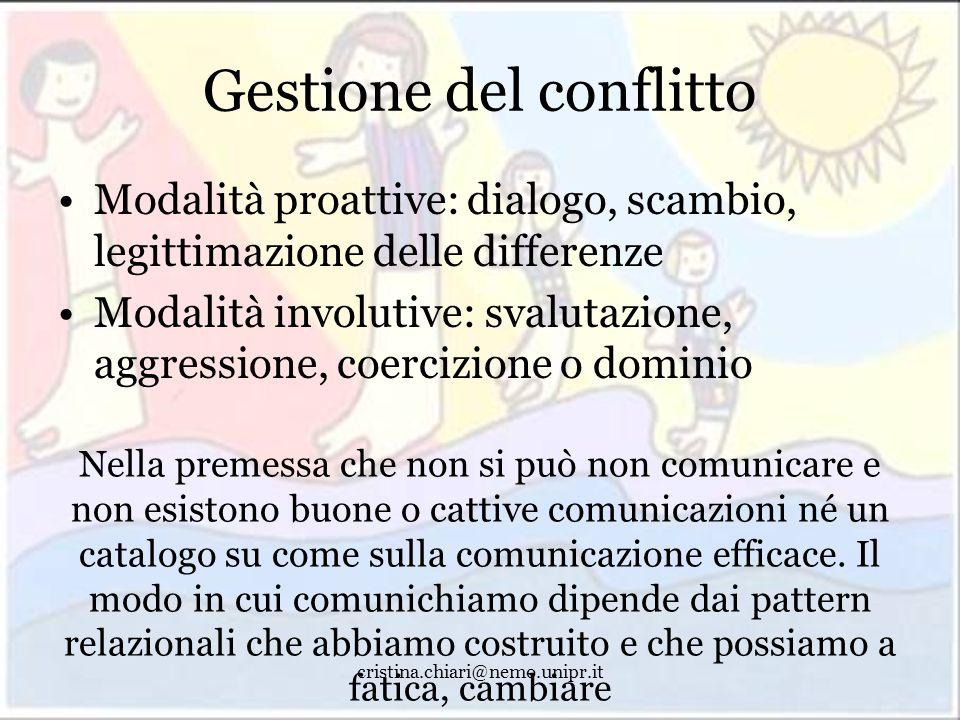 cristina.chiari@nemo.unipr.it Gestione del conflitto Modalità proattive: dialogo, scambio, legittimazione delle differenze Modalità involutive: svalut