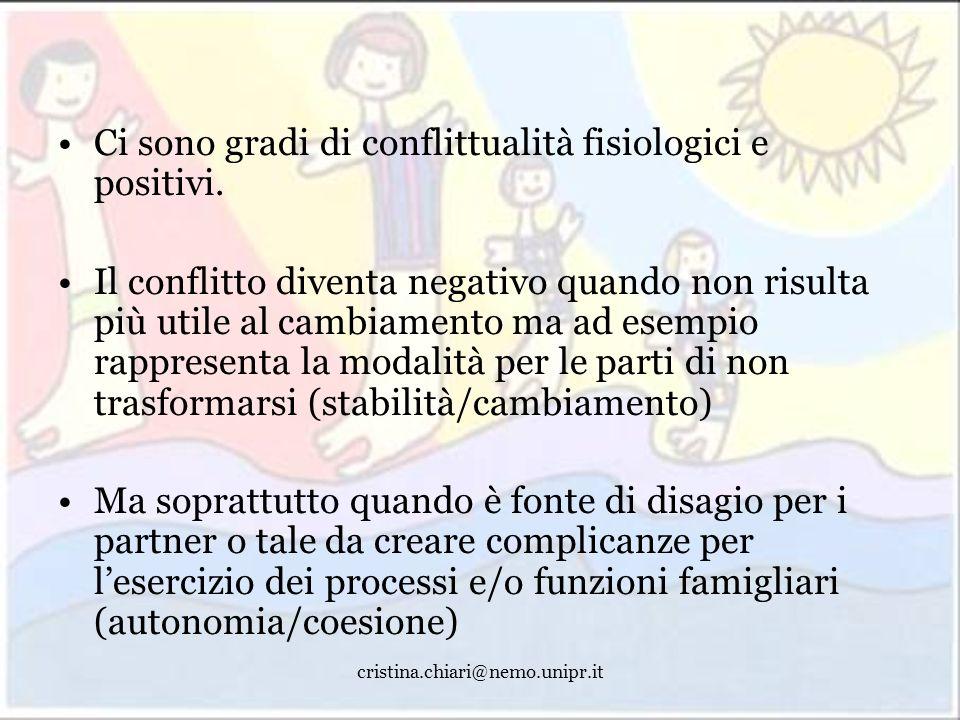 cristina.chiari@nemo.unipr.it Ci sono gradi di conflittualità fisiologici e positivi. Il conflitto diventa negativo quando non risulta più utile al ca