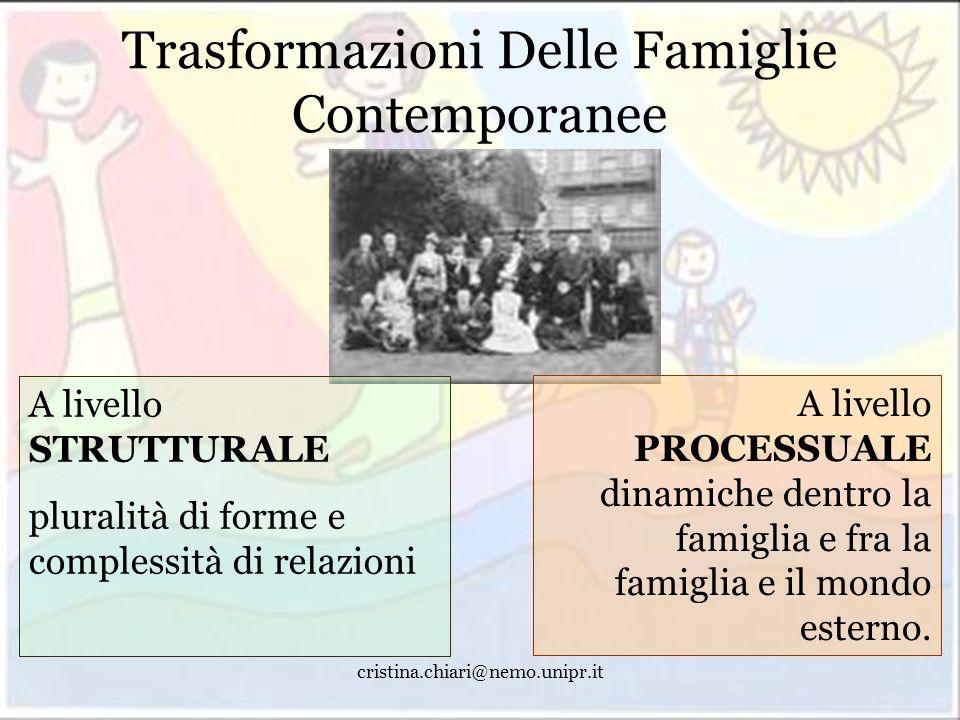 cristina.chiari@nemo.unipr.it Trasformazioni Delle Famiglie Contemporanee A livello STRUTTURALE pluralità di forme e complessità di relazioni A livell