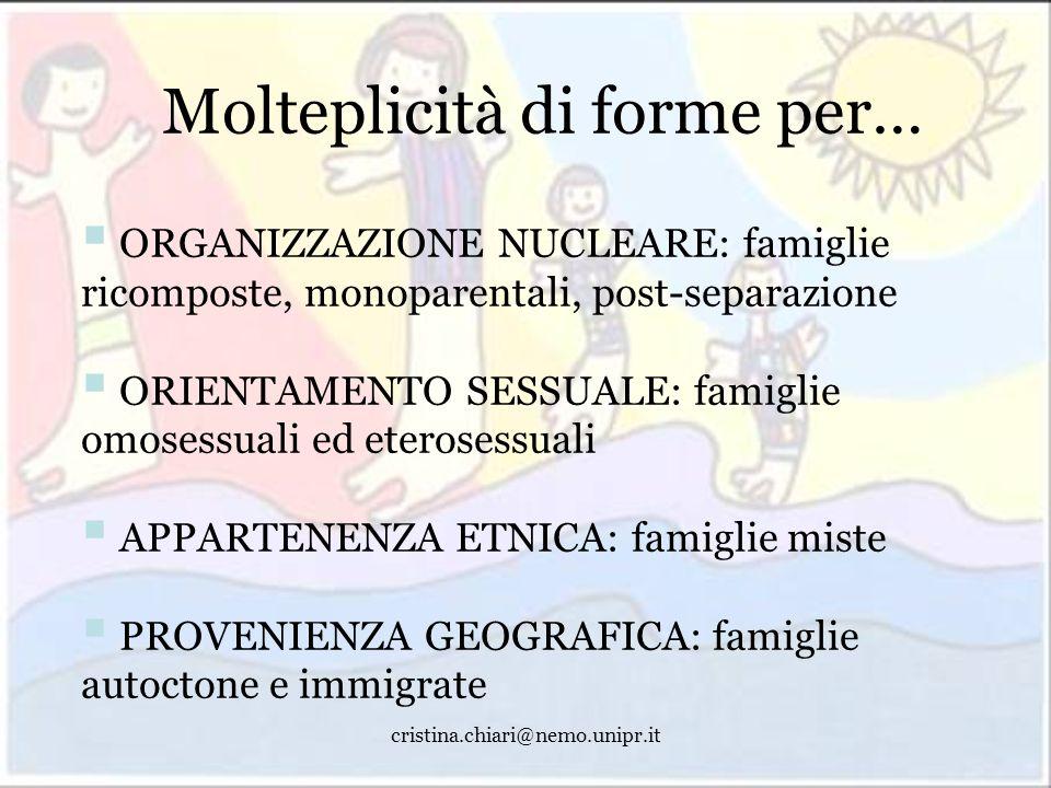 cristina.chiari@nemo.unipr.it Molteplicità di forme per… ORGANIZZAZIONE NUCLEARE: famiglie ricomposte, monoparentali, post-separazione ORIENTAMENTO SE
